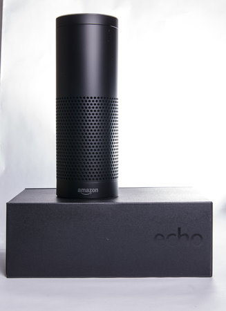 LEEDS, UK - 5 JANUARY 2017  Amazon Echo Alexa smart assistant Editorial