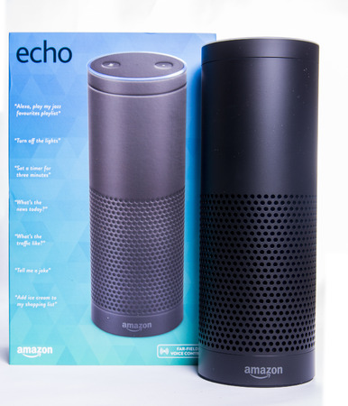 LEEDS, UK -  5 JANUARY 2017  Amazon Echo Alexa smart assistant