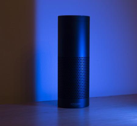 echo: LEEDS, UK - 17 MARCH 2017.  The Amazon Alexa AI Echo Smart Home device. Editorial