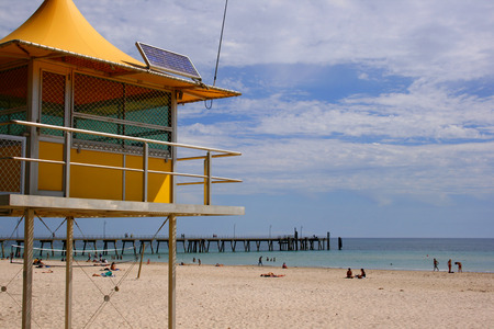 life saving: A surf life saving station on a beach in South Australia Editorial