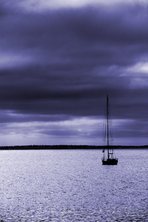 seeks: A yacht seeks shelter from the coming storm