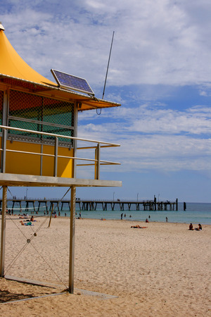 life saving: A surf life saving station on a beach in South Australia Stock Photo