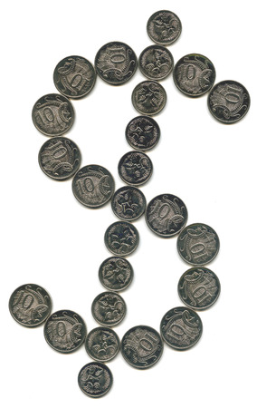 coinage: A dollar sign utilising australian silver coinage Stock Photo