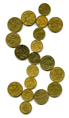coinage: A dollar sign utilising australian dollar coinage