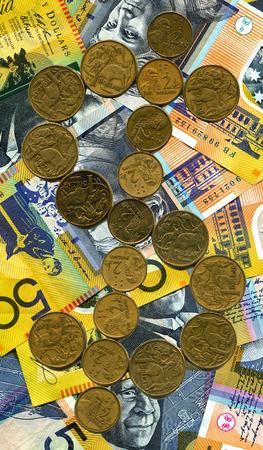australian dollar notes: A dollar sign utilizing australian dollar coinage with a of 50 dollar notes
