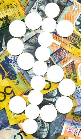 australian dollar notes: A dollar sign with a  australian 50 dollar notes Stock Photo