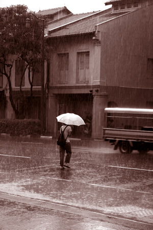 downpour: Caught in a sudden downpour of rain Stock Photo