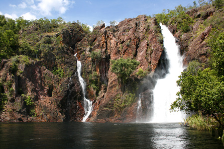 scrub grass: Wangi Falls in Northern Territory Australia