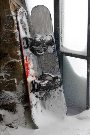 fun day: The end of a fun day snowboarding in Australia Stock Photo