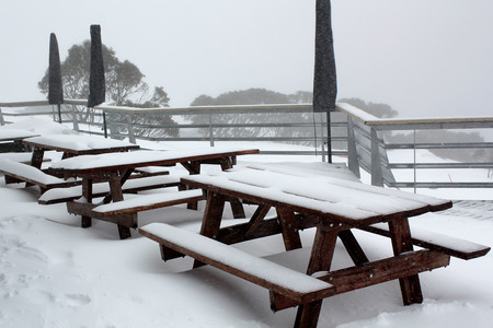 ski lodge: Snowed in drinks area of a ski lodge in the mountains of Australia