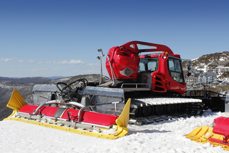 grader: A snow grader waiting to go into action on the ski slopes