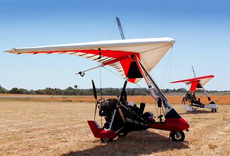 powered: Powered hang gliders on the airfield waiting for a flight Stock Photo