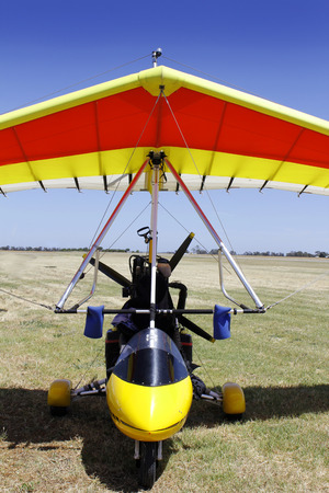 hang glider: Powered hang glider on the airfield waiting for a flight Stock Photo