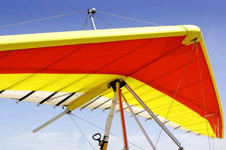 hang glider: The wing of a powered hang glider waiting for a flight