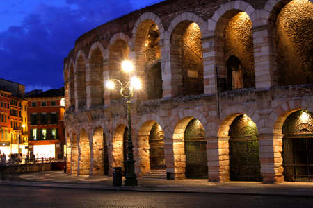 1st century: The Arena in Verona Italy as seen at night built in the 1st century AD