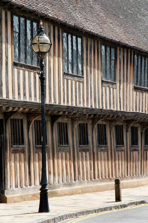 guildhall: The structure of medieval buildings in Stratford upon Avon England. The guildhall was built in 1420 William Shakespeare was educated here. Editorial