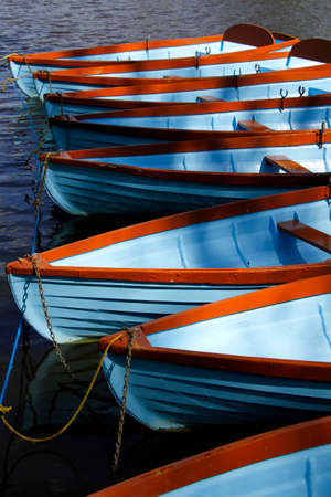 rowboats: Rowboats moored on the river in the spring sunshine