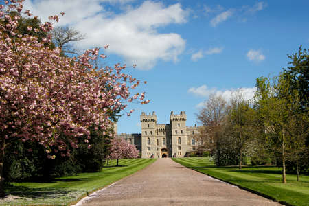The beauty of historical workmanship of Windsor Castle UK as seen from the Long Walk