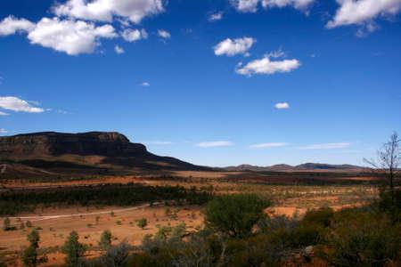 scrub grass: The open desert landscape of the Flinders Ranges South Australia