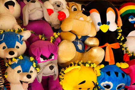 stuffed toys: A collection of fluffy stuffed toys on presentation at a fair Stock Photo