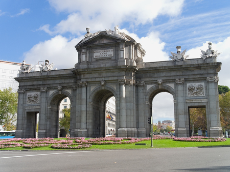 eighteenth: Alcala Gate, old entrance to the city of Madrid built by King Carlos III in the eighteenth century