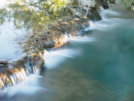 aquitaine: River with small waterfall in Aquitaine, France