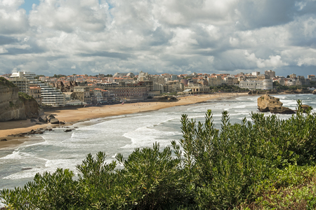 Aerial view of the city of Biarritz and its beach on the atlantic ocean