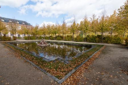 Gardens in autumn conlos hoist in tones gilded in the province of Segovia, Spain