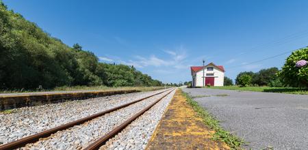 narrow-gauge railway, cadavedo station in asturias 写真素材
