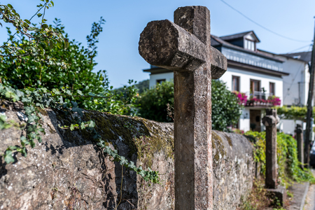 crosses of ganitica stone in a street of town of asturias