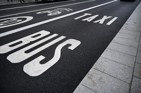 Bus taxi and bicycle lanes with limited speed