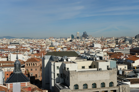 Aerial view of the city of Madrid from Alcala street