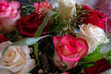 Bouquet of roses flowers of different colors, red, yellow, white 写真素材