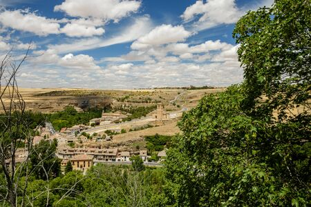 view of the landscape outside of Segovia, dry Castilian lands by the claor of summer