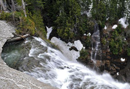 Twin water falls in opposite direction Banco de Imagens