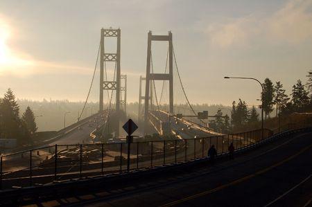 Bridge in a foggy morning Stock fotó - 3933433