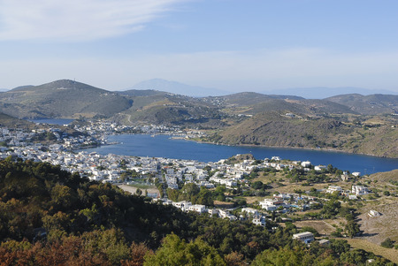 view of Patmos island harbour, Dodecanese, Greece