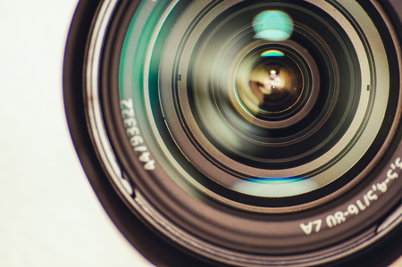 The lens of a DSLR camera, close-up Stock Photo