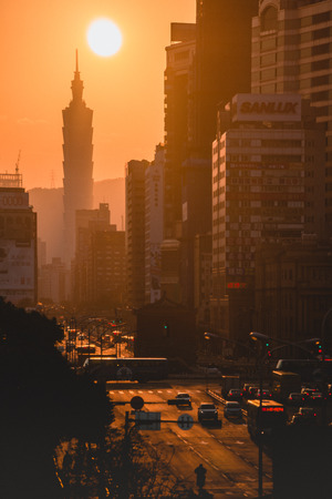 101 Taipei 101 Taipei 1o1 Skyscrapers Sunset Sunset, Office Tower Commercial Building Resort Taiwan 写真素材
