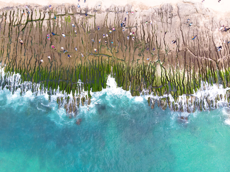Laomei Green Reef Aerial View - Taiwan North Coast seasonal features, shot in Shimen District, New Taipei, Taiwan.