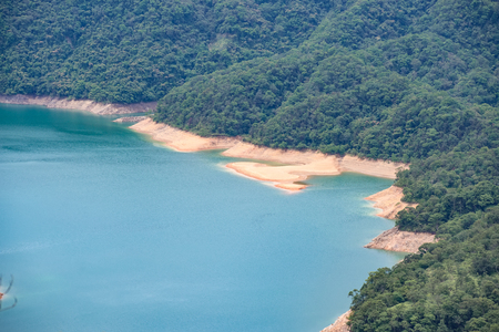 Thousand Island Lake from Shiding Crocodile Island at Feitsui Dam in Shiding District, New Taipei, Taiwan. 版權商用圖片