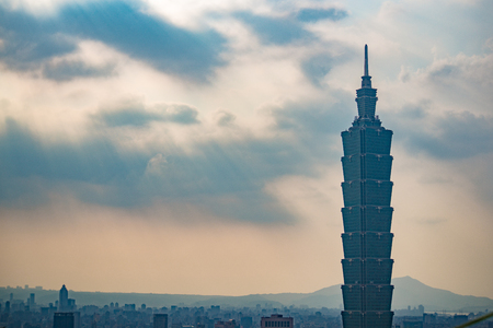 Taipei, Taiwan - May 20, 2018: Aerial panorama over Downtown Taipei with Taipei 101 Skyscraper, Landmark buildings of Taipei