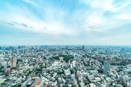 Asia Business concept for real estate and corporate construction - panoramic modern city skyline bird eye aerial view of vivid blue sky in Roppongi Hill, Tokyo, Japan