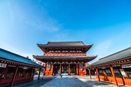 TOKYO, JAPAN - June 22, 2018: Morning view around Sensoji Temple in Tokyo. Oldest temple in Tokyo and on of the most significant Buddhist temples located in Asakusa.