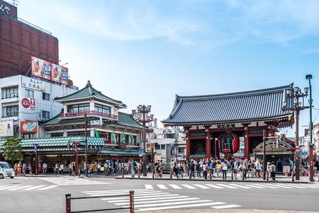 TOKYO, JAPAN - June 22, 2018 : Sensoji temple at Asakusa neighborhood, tourists are very happy to pay homage to blessing. This area has many shops & shopping center. One of Tokyos must-see places to visit Editorial