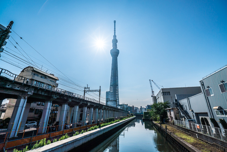 TOKYO, JAPAN - June 22, 2018: Tokyo Sky Tree and blue sky. Tokyo Sky Tree is one of the famous landmark in Tokyo. It is the tallest structure in world when built.