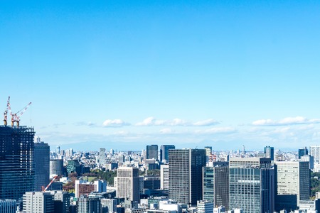 Asia business concept for real estate and corporate construction - panoramic urban city skyline aerial view under blue sky in hamamatsucho, tokyo, Japan Archivio Fotografico