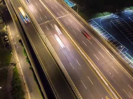 Traffic Aerial View - Traffic concept image, birds eye daytime view use the drone in Taipei, Taiwan.