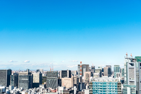 panoramic urban city skyline aerial view under blue sky in hamamatsucho, tokyo, Japan