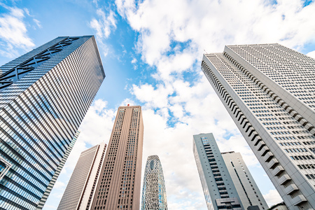 High-rise buildings and blue sky - Shinjuku, Tokyo, Japan Stock Photo